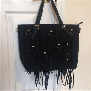 Handbags - 👜 Black Suede And Leather Fringe Tote Bag 👜